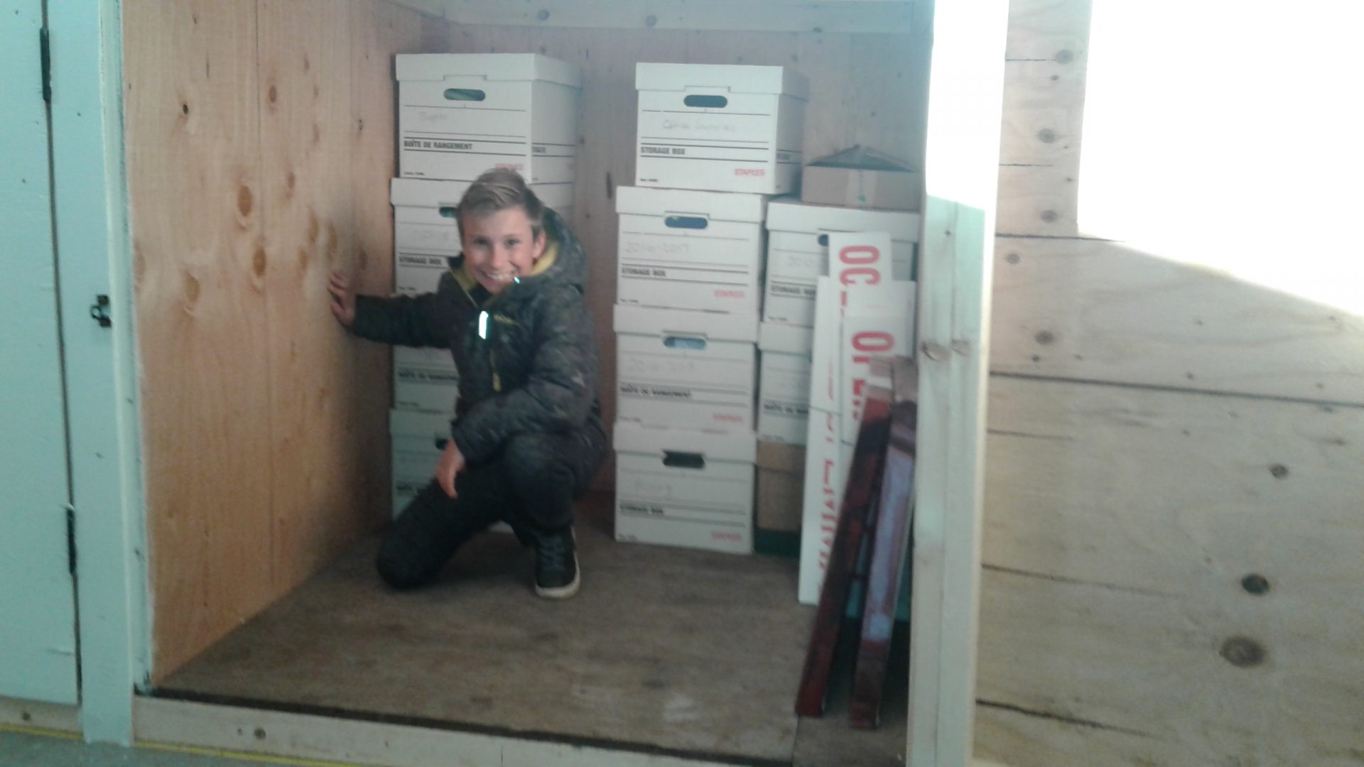 storage unit, child, boxes
